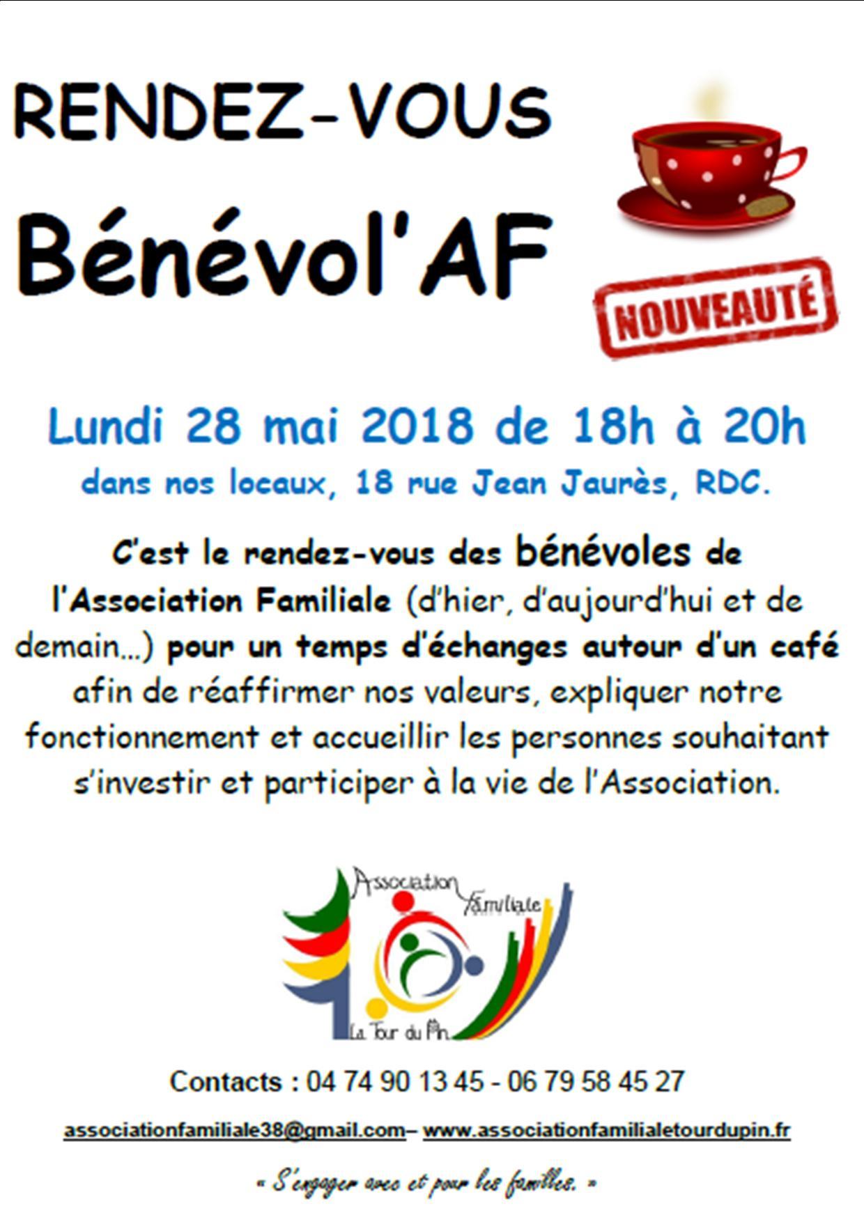 Affiche benevol af 1ere date 28 mai 2018
