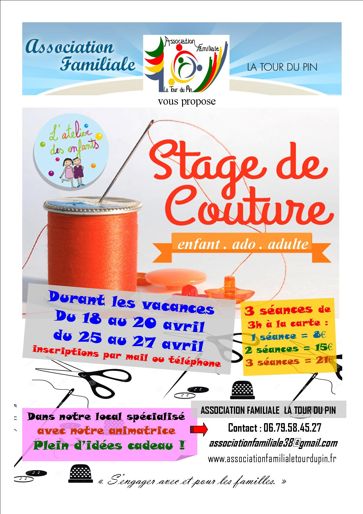 Affiche stage couture avril